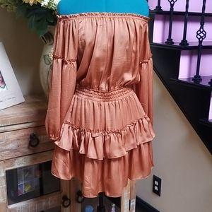 Fashion Nova Copper Ruffled Dress - SZ M